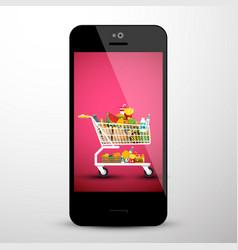 Shopping cart on mobile phone screen e shop app vector
