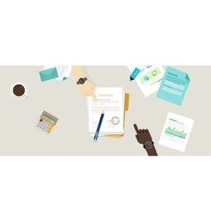 sign paper deal contract agreement hand pen on vector image