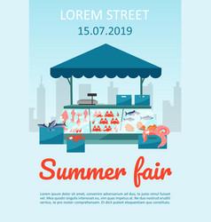 Summer food fair brochure template seafood market vector