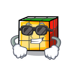 super cool rubik cube character cartoon vector image