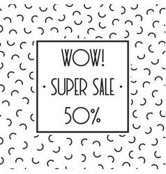 Super sale memphis banner template design for shop vector