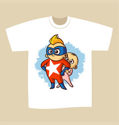 T-shirt print design superhero vector