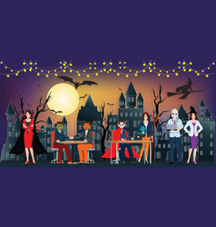 the dark night halloween office party and full vector image