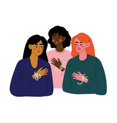 Three beautiful young woman talking to each other vector