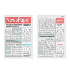 Two newspaper pages on white vector
