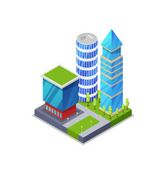 Urban street with houses isometric 3d icon vector