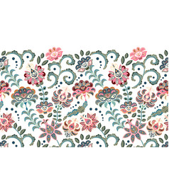vintage flowers seamless border in asian style vector image