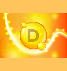 vitamin d gold shining pill capsule icon vitamin vector image