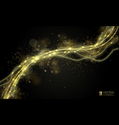 way gold dust wave golden sparkling confetti vector image