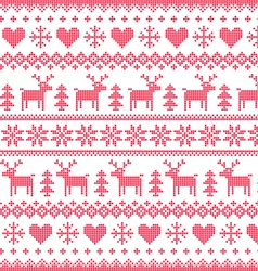 Winter Christmas red seamless pixilated pattern vector