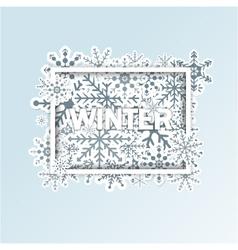 Winter light blue frame background vector image