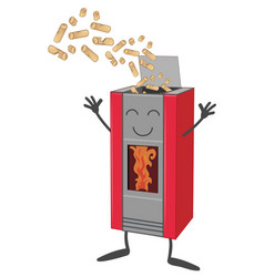 Wood pellet stove cartoon isolated on white vector