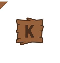 Wooden alphabet or font blocks with letter k vector