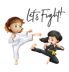 Word expression for lets fight with two girls vector