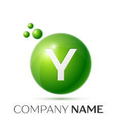 Y letter splash green dots and bubbles number vector
