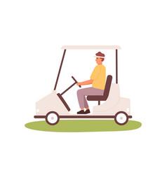 young man driving golf cart or car in cap visor vector image