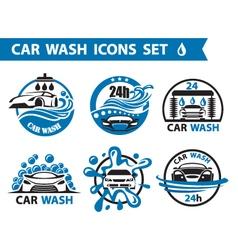 car wash icons set vector image