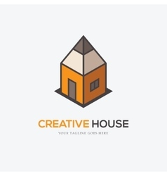 Creative logo with pencil and house vector image vector image
