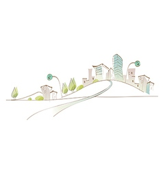 Curved path towards city vector image