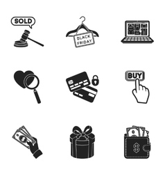 E-commerce set icons in black style Big vector image vector image
