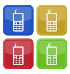 four square color icons old mobile phone vector image