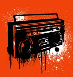 graffiti stencil boombox vector image vector image