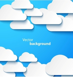Paper clouds banner with drop shadows vector image vector image