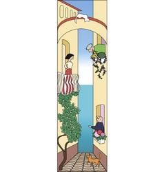 Cartoon narrow street with 3 characters vector