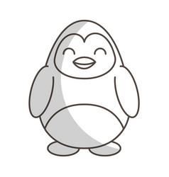 cute shadow penguin cartoon vector image