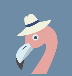 pink flamingo head wearing hat retro style blue vector image