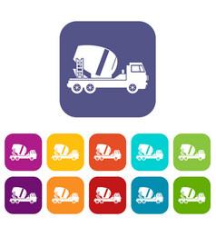 concrete mixer truck icons set vector image vector image