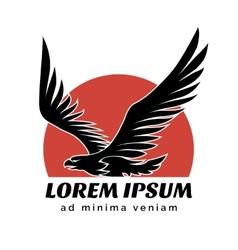 Eagle over sun logo sign vector