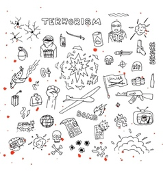 Hand Drawn terrorism doodles with blood splatters vector image
