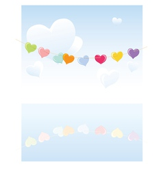 hearts on a rope vector image vector image