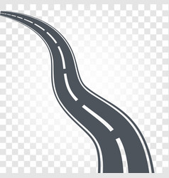 Isolated black color road or highway with dividing vector