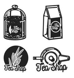 color vintage tea shop emblems vector image vector image