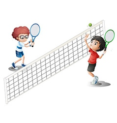 Kids playing tennis vector image vector image