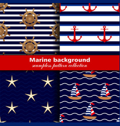 Marine background Set of seamless patterns four vector image vector image