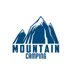 mountain camping and outdoor adventure symbol vector image