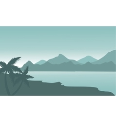 Silhouette of beach and mountain vector image