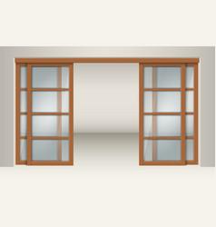 sliding glass doors with wooden lintels vector image vector image