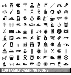 100 family camping icons set simple style vector