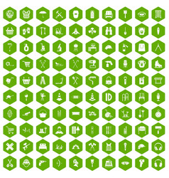 100 outfit icons hexagon green vector