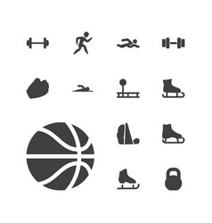 13 athletic icons vector