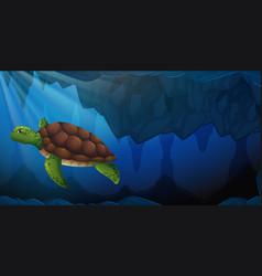 a green sea turtle underwater vector image