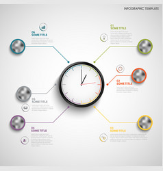 Abstract info graphic with color design clock vector