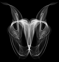 Abstract white smoke isolated on black background vector