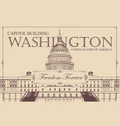 Banner with us capitol building in washington dc vector
