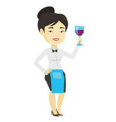 Bartender holding a glass of wine in hand vector