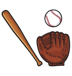 Baseball glove ball and bat vector